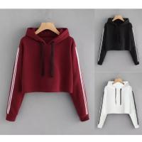 Baju Hoodie Crop Top Wanita Stripes Best Seller Shirt 3370