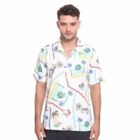 Hawaii Shirt, Aloha Shirt (White) - Kemeja Pria