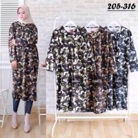 Baju Dress Tunik Muslim Wanita Army Loreng Scuba Best Seller 3656