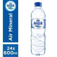 Aqua minuman air mineral 600 ml (1 karton isi 24 botol)