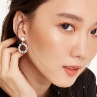 Diamond Ring Drop Earrings Anting Bulat Berlian Cantik Korean Style