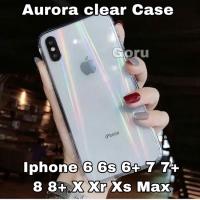 Soft case iphone 6 6s 7 8 plus + X Xr Xs Max Aurora bening transparan
