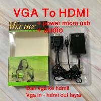 New Converter KABEL VGA to HDMI Adaptor With Micro USB Power Audio NEW