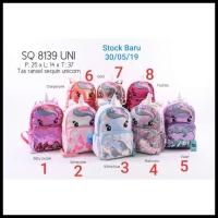 Tas Ransel Backpack Sekolah Anak Sequin Unicorn Tanduk - SQ 8139 Uni