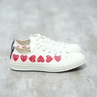 Converse CDG Play Low Multi Heart White 100% Authentic