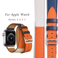 Strap double tour indigo leather hermes apple watch iwatch 42mm 38mm