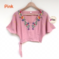 Baju boho bunga / bohemian crop top Pink / atasan wanita bordir bunga