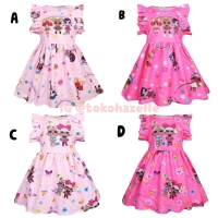 Baju Dress Anak Cewe LOL Surprise Ruffle Sleeve Import