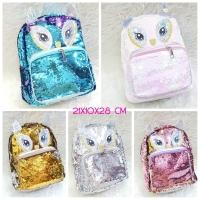 Tas Ransel Backpack Fashion Sequin Model Justice Owl / Tas Manik Usap - Gold