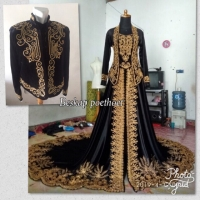 Sepasang baju pengantin jawa solo dan kebaya ekor panjang mewah hitam