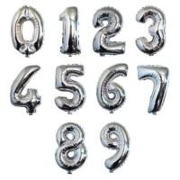 Balon Foil Huruf Angka Silver / Balon Ulang Tahun / Foil Angka 40 cm