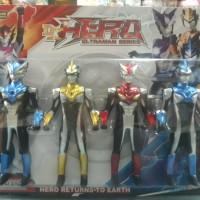 Mainan anak action figure ultraman set series 4pc nyala hero DX bandai