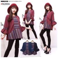 Revina Blouse Batik Songket Tangan Terompet Wanita Shirt - 1486 SBT