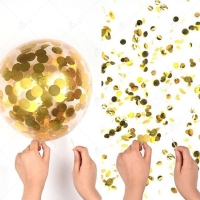 Balon isi confetti 12 inch rose gold, merah, biru, silver, gold, hitam
