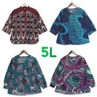 Blouse batik wanita jumbo bigsize 5L lengan panjang bahan katun asli