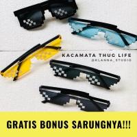 Kacamata Thug Life Meme / Kaca Mata Hitam Unik 8 Bit (Satuan)