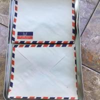 amplop air mail par avion nusantara linen kuno putih biru merah jadul