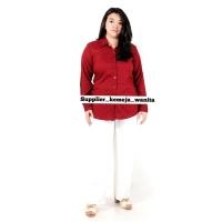 Atasan Kemeja Wanita Rayon Basic Polos Warna Merah Maroon Ukuran XL