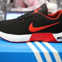 NIKE FREE FLYKNIT Hitam Merah Sepatu Pria Wanita Running Olahrga Ori