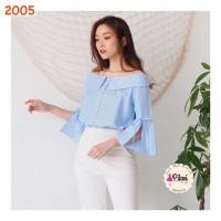 Sabrina wanita / baju sabrina katun garis garis / blouse biru muda
