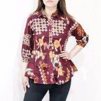 Baju atasan blouse batik wanita busui lengan panjang katun strecth