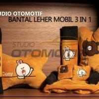 Bantal Jok Mobil Brown Cony LINE 3in1 / Bantal leher Mobil Brown Cony