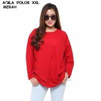 AQILA Kaos polos Merah Jumbo Lengan panjang