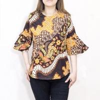 Blouse batik songket jumbo bigsize XXL wanita lengan panjang bhn katun