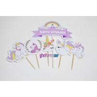 Hiasan kue ulang tahun unicorn 1 pak - Topper cake happy birthday kuda