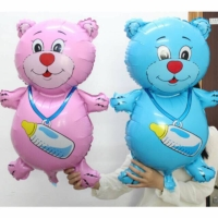Balon Foil Beruang / Balon Baby Shower / Balon Beruang Pink Biru - Biru Muda
