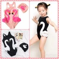 baju renang anak flaminggo swimsuit baby + Topi karakter pink hitam