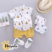 Setelan Baju Pakaian Anak Bayi Laki-Laki Kemeja Celana Korea Murah