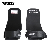7639 AOLIKES LEATHER STRAP WRIST WRAP SUPPORT GRIP BAND GLOVE DEADLIFT