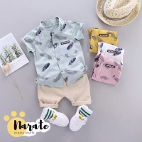 Setelan Outfit Baju Pakaian Bayi Anak Laki Kemeja Celana Korea Murah