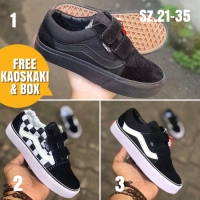Sepatu anak sekolah hitam vans olskool laki laki dan perempuan