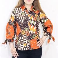 Blouse batik wanita busui lengan panjang bahan katun strecth
