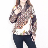 Blouse batik wanita lengan panjang list kombinasi Vneck katun strecth