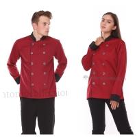 baju koki merah marun lengan panjang