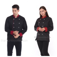 Baju Koki / Chef Hitam Dove List Merah Maroon Lengan Panjang