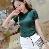 Knit top cewe baju lengan pendek kaos wanita rajut import murah