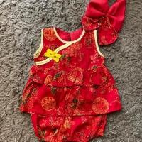 Set baby imlek, baby Cheongsam + bandana