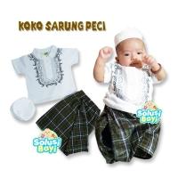 OZK Baju Muslim Koko Putih Baju Aqiqah Sarung Instan Bayi Set Peci