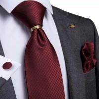 Set dark red maroon motif dasi panjang, pocket square, cufflinks, ring