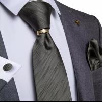 Set hijau army dark green motif dasi panjang, pocket square, cufflinks