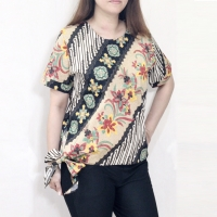 Blouse batik wanita lengan pendek untuk atasan kerja kantor bhn katun