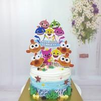 Baby Shark with friends Topper Cake Birthday / Hiasan Kue Ulang tahun