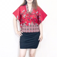 Blouse batik songket wanita model batwing terbaru bahan katun strecth
