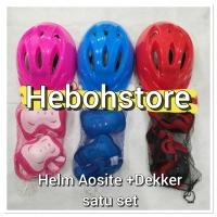 Helm inline sepatu roda/Helm skateboard Anak+Deker set(1 set) polos