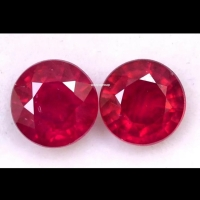 Batu Ruby HQ round cut diamond 6x6mm Natural Merah Delima permata RARE