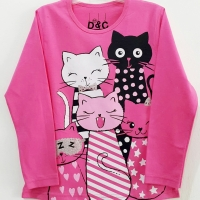 Baju Anak Perempuan Tangan Panjang Karakter Kucing 1-6 Tahun